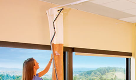 With the exclusive Grabber Bar, your staff can remove or install curtains in seconds without the use of ladders