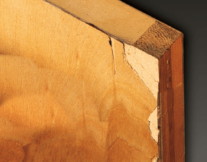 "Most Damage Occurs at the Edges - At a 3""drop the wood veneer chipped, exposing sharp edges"