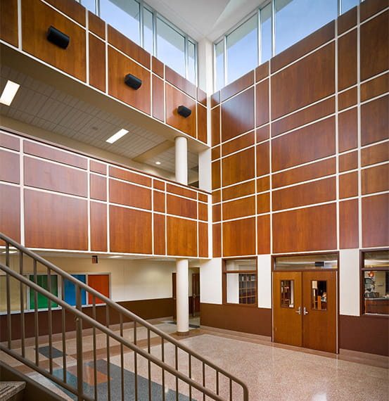 Wall School District : Acrovyn wall panels see in place