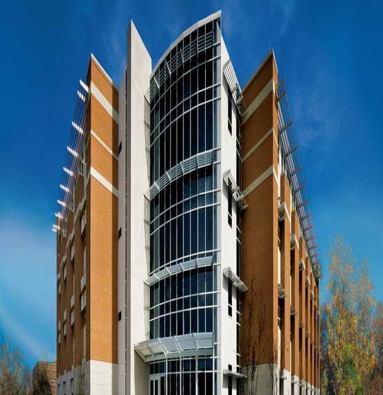 Old Dominion University Cantilevered & Vertical Sun Controls, Grilles Paralinear Modular & Storm-Resistant Louvers & Lightshelves