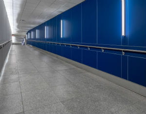 Chevron Tunnel Acrovyn Wall Panels and Handrails