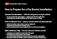 How to prepare for an EJC Fire Barrier installation