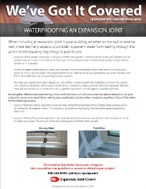 Waterproofing An Expansion Joint flyer