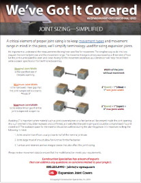 Joint Sizing Simplified flyer