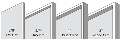 Wall Panel Depth options are 3/8 inch, 3/4 inch, 1 inch, 2 inch