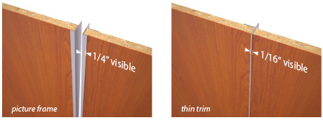 Wall Panel Trim options are picture frame with 1/4 inch visible, and thin trim, with 1/16 inch visible