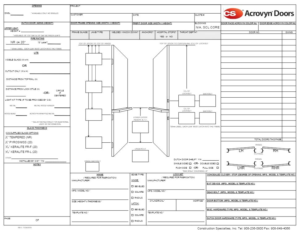 Acrovyn Doors Resources Amp Specifications